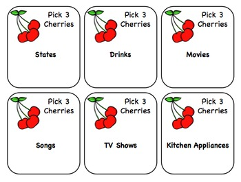 Let's Go Cherry-O! Categories