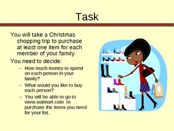 Let's Go Christmas Shopping - Budgeting and Sales Tax Activity