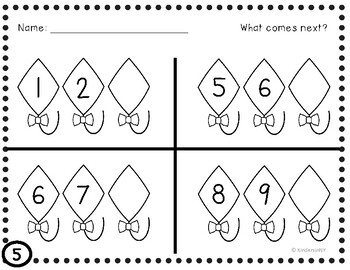 Missing Numbers in a Sequence, 1-20;  Common Core Aligned; Kite Themed