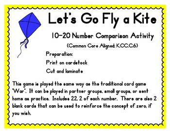 10-20 Number Comparison Game; Common Core Aligned; Kite Themed