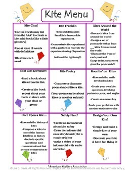 Kite Kapers! Spring Cross-Curricular Research Menu for Gifted/Enrichment