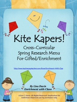 Kite Kapers! Spring Cross-Curricular Research Menu for Gif
