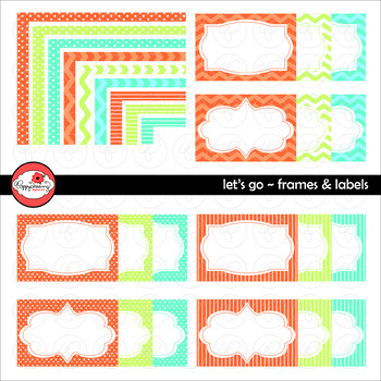 Let's Go! Frames Labels & Borders Clipart by Poppydreamz