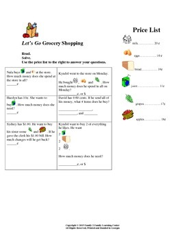 Lets Go Grocery Shopping Worksheet: Adding and Counting Money