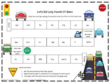 Let's Go! Long Vowels CV Literacy Station Word Game RF.1.3, RF.2.3