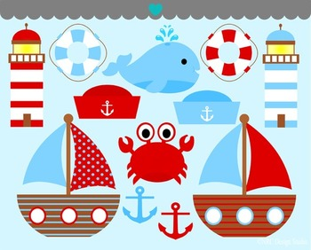 Nautical sailing boat clipart commercial use