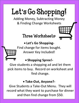 Let\u0027s Go Shopping! Adding Subtracting Money.Finding Change.Worksheets. Centers