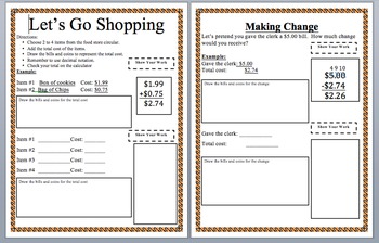 Let's Go Shopping- Finding total cost and making change