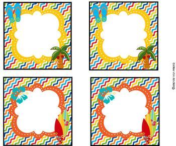 Let's Go Surfin' Labels (surf, beach, Hawaiian theme) *editable*