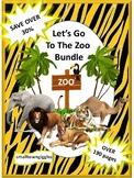 Zoo Animals Printable Activities BUNDLE, Kindergarten Math & Literacy Worksheets