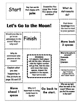 """Let's Go To the Moon"" Comprehension Game Board- Journeys story 1st grade"