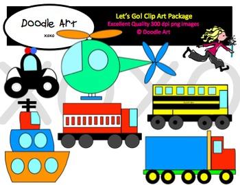Let's Go! Transportation Clipart Pack