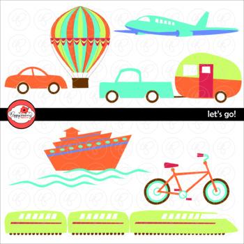 Let's Go! Travel Transportation Clipart by Poppydreamz