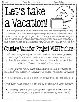 Country Project - Plan a Vacation Anywhere in the World - Country Activity