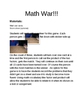 Let's Go to War!!!!-(math war that is!)