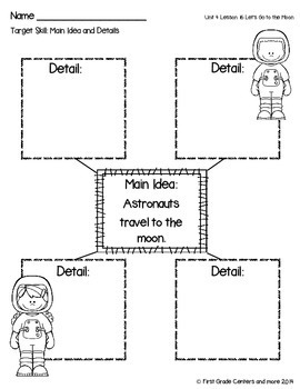 Let's Go to the Moon aligned with Journeys First Grade Unit 4 Lesson 16