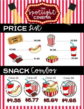 Let's Go to the Movies Shopping Decimals Activity 5.NBT.7