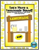Let's Have a Lemonade Stand! Adding Two-digit Numbers Task Cards (w/ Regrouping)
