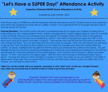 """Let's Have a SUPER Day!"" Superhero Themed SMART Board Attendance w/ SOUND"