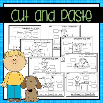 Let's Label! Labeling Worksheets {Cut & Paste, Word Bank, Fill in the Blank}