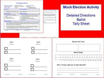 Election Day PowerPoint Lesson w/worksheets & Mock Election Activity