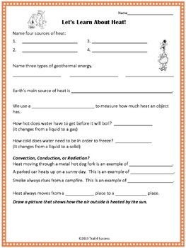 Heat Energy Powerpoint Lesson + Student Worksheet Printable by Trail ...