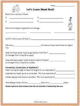 Heat Energy Powerpoint Lesson + Student Worksheet Printable