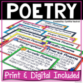 Poetry Unit | Poetry Activities for Print and Google Classroom™ | Poetry Writing