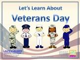 Veterans Day PowerPoint Lesson w/Worksheets & Homework