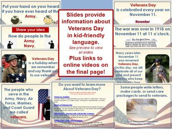 Veterans Day PowerPoint Lesson w/Worksheets & Homework
