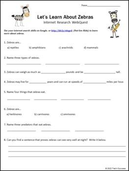 Zebra Webquest Internet Reading Research Activity