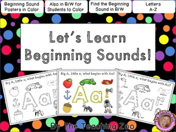 Let's Learn the Alphabet!  Beginning Sounds Posters & Colo