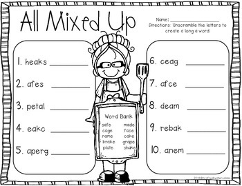 Let's Make A Cake! Long A Word Work Centers