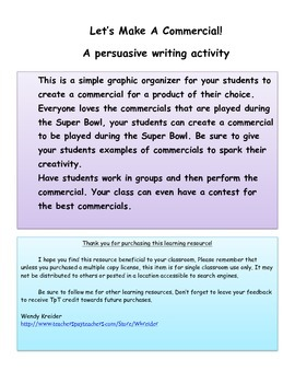 Let's Make A Commercial! A Persuasive Writing Activity