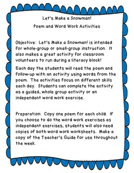 Let's Make A Snowman Poem and Word Work Activities