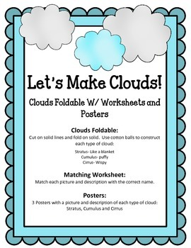 Let's Make Clouds! Foldable Worksheet Poster.  Science Interactive Notebook