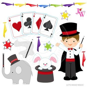 Lets Make Magic Cute Digital Clipart, Magician Graphics