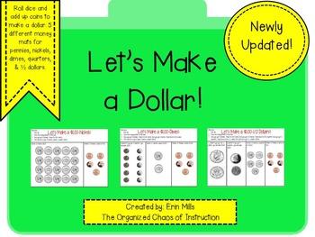 Let's Make a $1.00 Dollar!(pennies,nickels,dimes,quarters, 1/2 dollars)