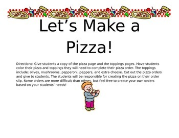Let's Make a Pizza: Fraction Pizzas