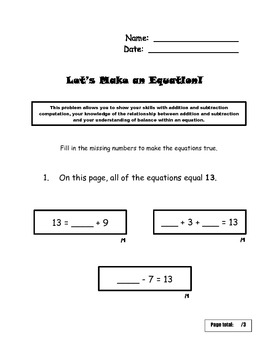 Let's Make an Equation: Operations/Algebraic Thinking Assessment for Common Core