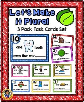 Let's Make it Plural~3 Pack Task Cards Set