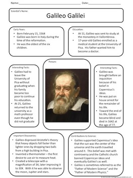 Let's Meet: Galileo Galilei Anchor Chart
