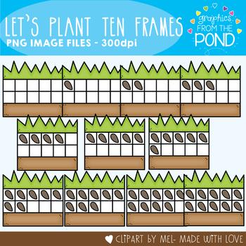 Let's Plant Ten Frames Clipart