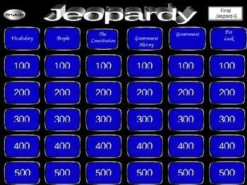 Let's Play Government Jeopardy