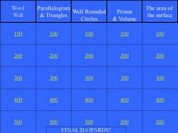 Surface Area and Volume - a jeopardy style game