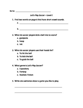 Let's Play Soccer Guided Reading Quiz