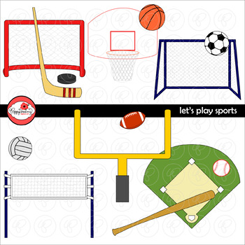 Let's Play Sports Clipart by Poppydreamz