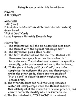 Let's Play a Game: Using Resource Materials