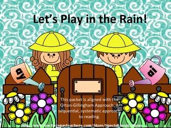 Let's Play in the Rain! ay/ai Literacy centers (sorts, boa