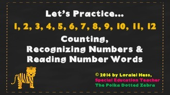 Let's Practice 1-12:  Counting, Recognizing Numbers & Read